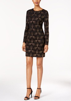 Vince Camuto Metallic Geo-Print Sheath Dress