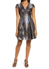 Vince Camuto Metallic Jacquard Fit & Flare Cocktail Dress