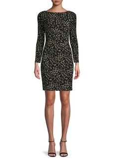 Vince Camuto Metallic Knit Long-Sleeve Sheath Dress
