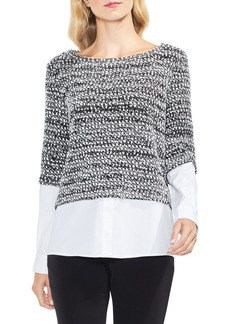 Vince Camuto Metallic Knit Mix Media Top