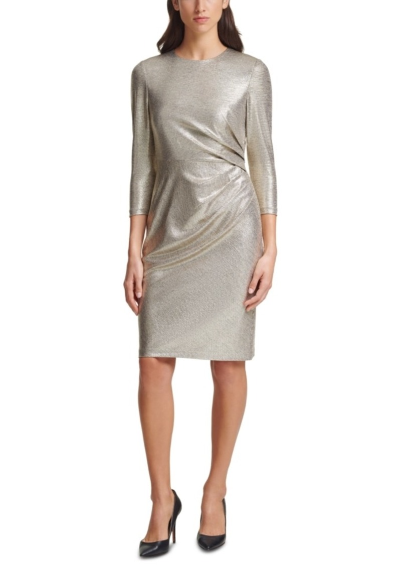 Vince Camuto Metallic Knit Side-Tuck Bodycon Dress