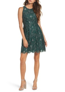 Vince Camuto Metallic Lace Fit & Flare Dress