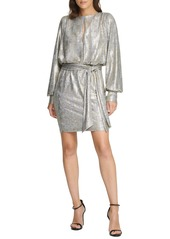 Vince Camuto Metallic Long Sleeve Cocktail Dress