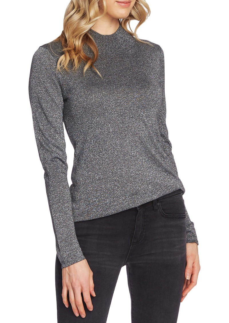Vince Camuto Metallic Mock Neck Sweater