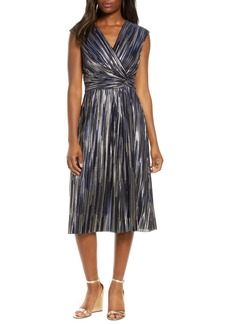 Vince Camuto Metallic Pleat Sleeveless Dress