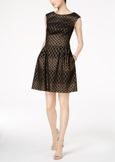 Vince Camuto Metallic-Print Fit & Flare Dress