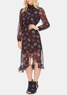 Vince Camuto Metallic Regal Stamp Floral Dress
