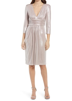 Vince Camuto Metallic Ruched Waist Long Sleeve Cocktail Dress