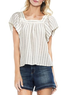VINCE CAMUTO Metallic Stripe Peasant Top