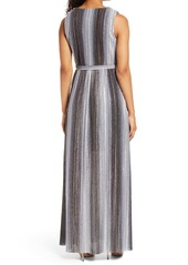 Vince Camuto Metallic Stripe Sleeveless V-Neck Gown