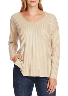 Vince Camuto Metallic Stripe V-Neck Sweater