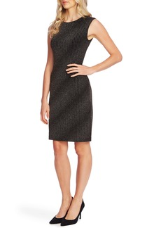 Vince Camuto Metallic Textured Knit Sheath Dress