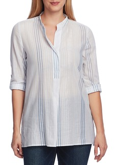 Vince Camuto Metallic Thread Stripe Cotton Blouse