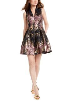 Vince Camuto Metallic V-Neck Fit & Flare Dress