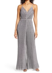 Vince Camuto Micro Pleated Metallic Jumpsuit