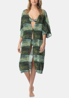 Vince Camuto Midnight Waves Printed Midi Kimono Cover-Up Women's Swimsuit