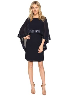 Vince Camuto Mini Dress with Cape Back Overlay and Sequin Trim