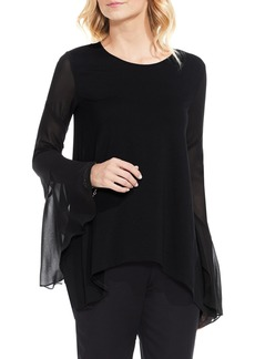 Vince Camuto Mix Media Bell Sleeve Blouse