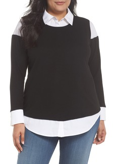 Vince Camuto Mix Media Brushed Jersey Top (Plus Size)