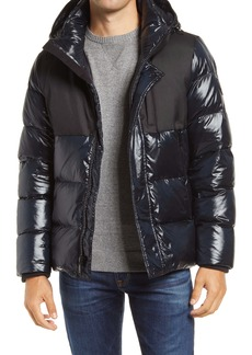 Vince Camuto Mix Media Hooded Puffer Coat