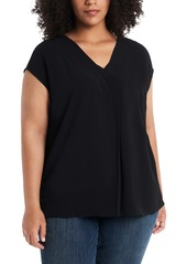 Vince Camuto Mix Media Sleeveless Top (Plus Size)