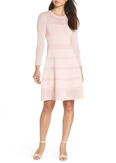 Vince Camuto Mix Stitch Pointelle Fit & Flare Dress