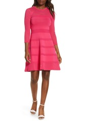 Vince Camuto Mix Stitch Pointelle Fit & Flare Dress