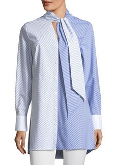 Vince Camuto Mix-Stripe Button-Down Poplin Tunic