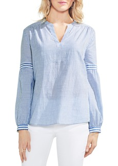 Vince Camuto Mix Stripe Cotton Peasant Blouse