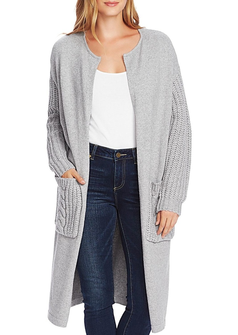 VINCE CAMUTO Mixed-Knit Open Front Cardigan