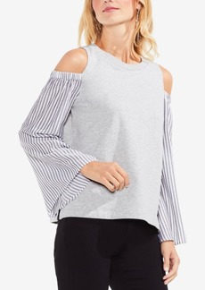 Vince Camuto Mixed-Media Bell-Sleeve Top