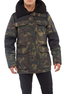 Vince Camuto Mixed Media Camo Water Repellent Parka