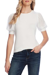 Vince Camuto Mixed Media Chiffon Puff Sleeve Top
