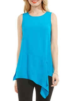 Vince Camuto Mixed Media Drape Front Top