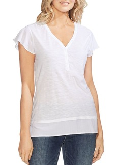 VINCE CAMUTO Mixed-Media Henley Top
