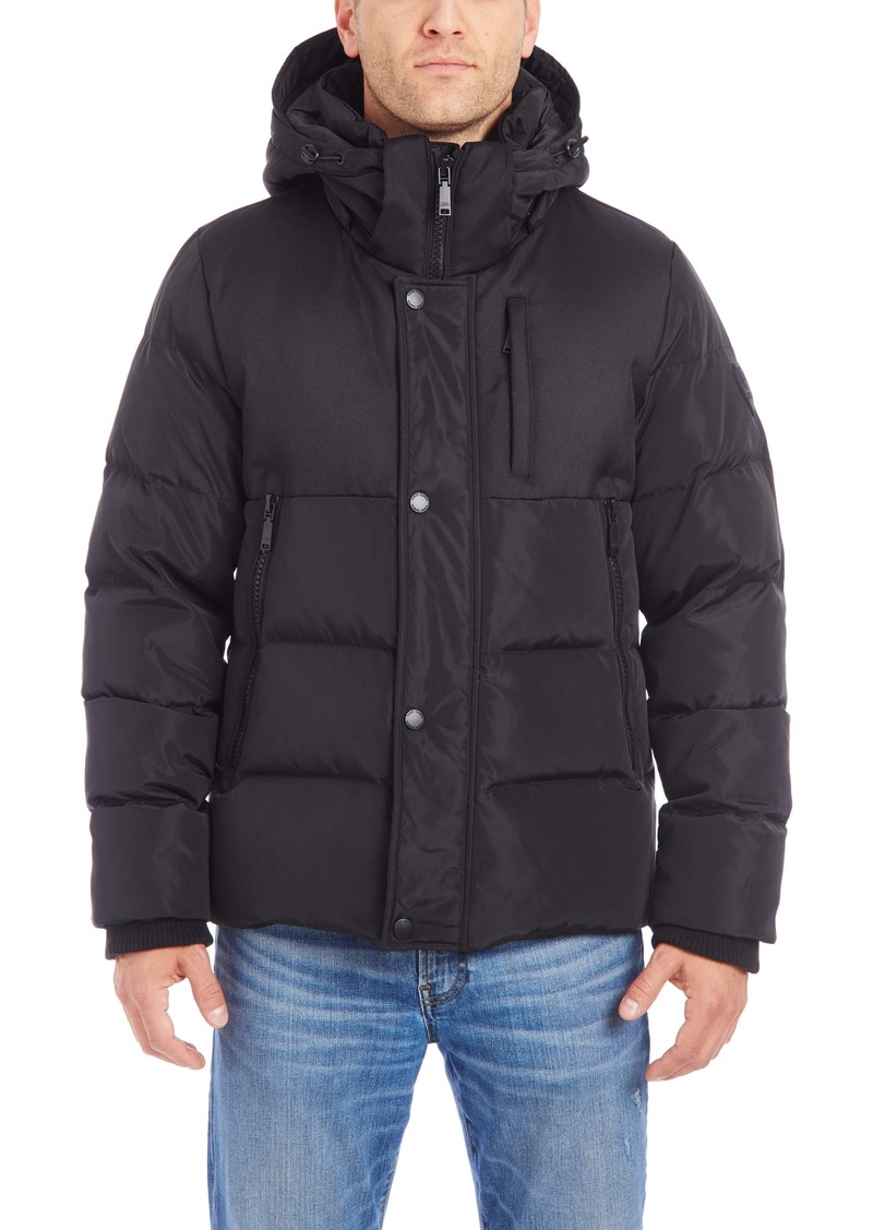 Vince Camuto Mixed Media Hood Puffer Jacket