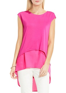 VINCE CAMUTO Mixed Media Layered Blouse