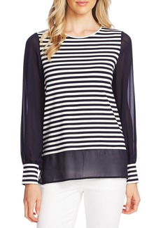 Vince Camuto Mixed Media Poolstripe Top