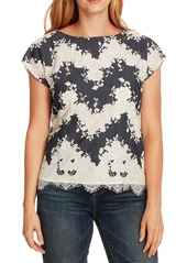 Vince Camuto Mixed Media Short Sleeve Top
