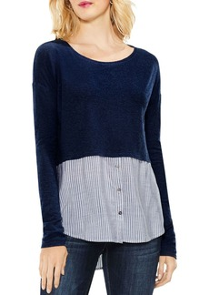 VINCE CAMUTO Mixed Media Stripe Shirttail Top