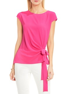 Vince Camuto Mixed Media Tie Front Blouse (Regular & Petite)