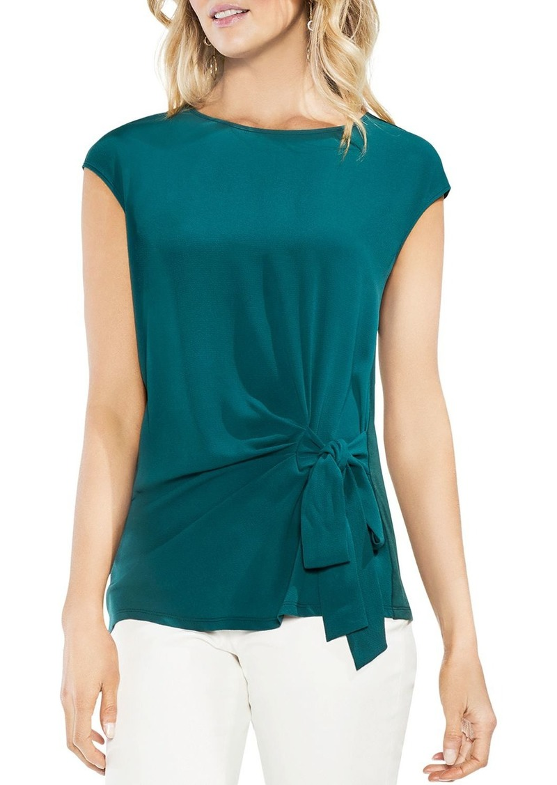 VINCE CAMUTO Mixed Media Tie-Front Top