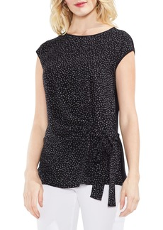 Vince Camuto Mixed Media Tie Front Top