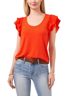 Vince Camuto Mixed Media Tiered Ruffle Sleeve Top