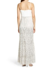 Vince Camuto Mixed Media Wrap Front Gown