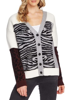Vince Camuto Mixed Print Cardigan