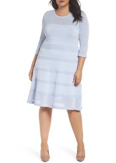 Vince Camuto Mixed Stitch Pointelle Fit & Flare Dress (Plus Size)