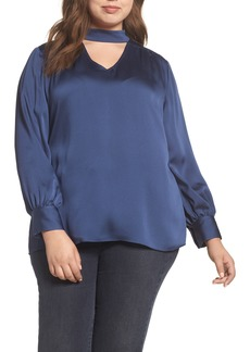 Vince Camuto Mock Choker Neck Blouse (Plus Size)