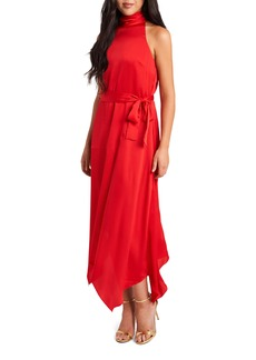 Vince Camuto Mock Halter Neck Hammer Satin Sleeveless Dress