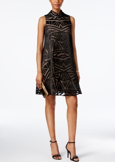 Vince Camuto Mock-Neck Burnout Trapeze Dress